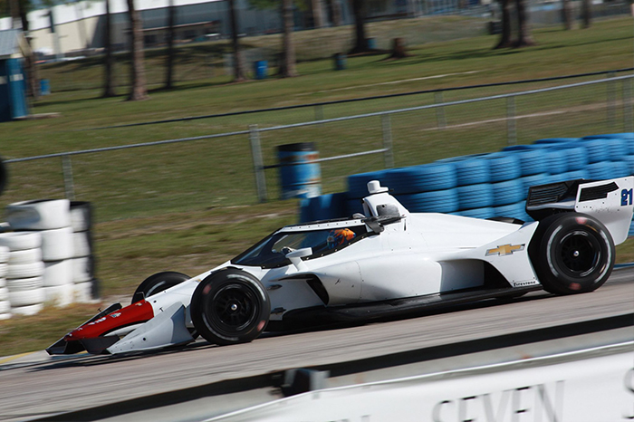 Rinus Veekay with ECR at the Rookie test at Sebring