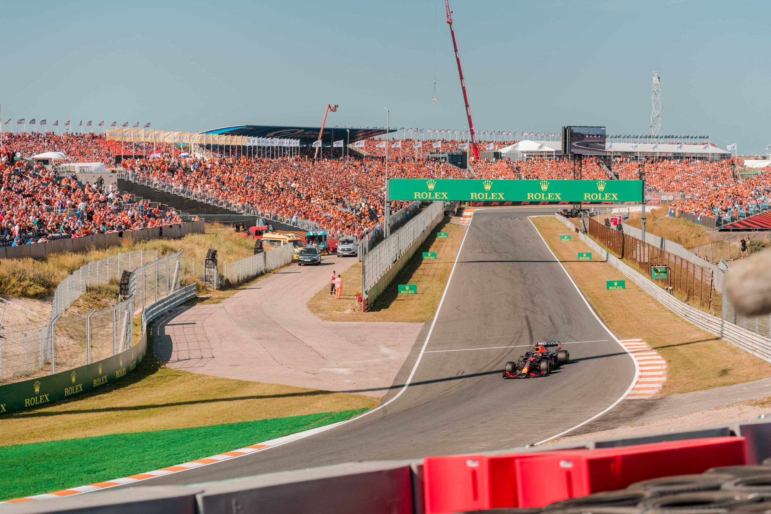 Dutch Grand Prix Zandvoort Max Verstappen heading for turn 13 and 14
